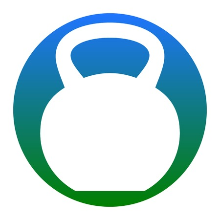 Fitness Dumbbell sign. Vector. White icon in bluish circle on white background. Isolated.