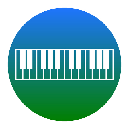 tons: Piano Keyboard sign. Vector. White icon in bluish circle on white background. Isolated.