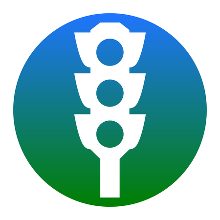 Traffic light sign. Vector. White icon in bluish circle on white background. Isolated.