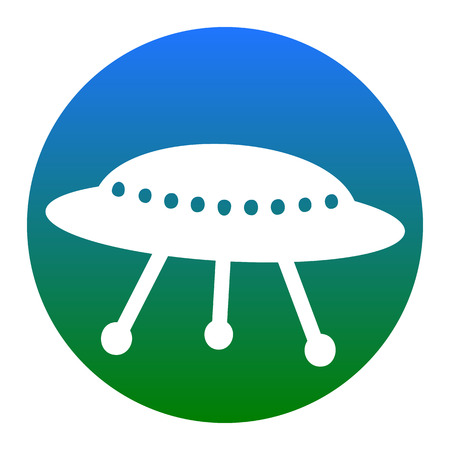 UFO simple sign. Vector. White icon in bluish circle on white background. Isolated. Illustration