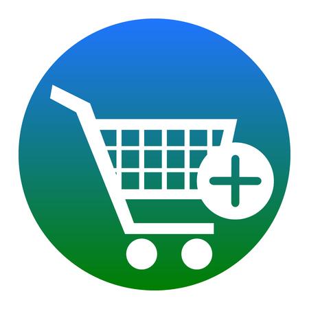 Carro de compras con signo de añadir marca. Vector. Icono blanco en círculo azulado sobre fondo blanco. Aislado. Ilustración de vector