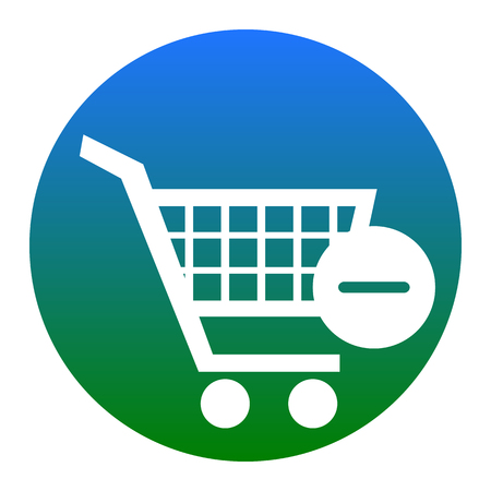 Shopping Cart with Remove sign.White icon in bluish circle on white background. Isolated.