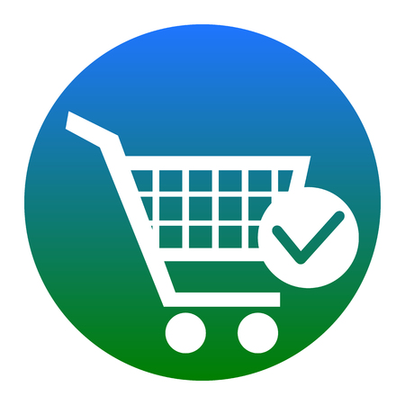 Shopping Cart with Check Mark sign. Vector. White icon in bluish circle on white background. Isolated. Illustration