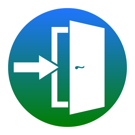 doorknob: Door Exit sign. Vector. White icon in bluish circle on white background. Isolated.