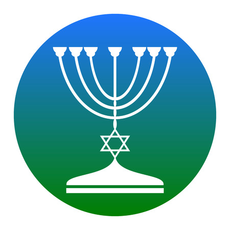 Jewish Menorah candlestick in black silhouette. Vector. White icon in bluish circle on white background. Isolated.