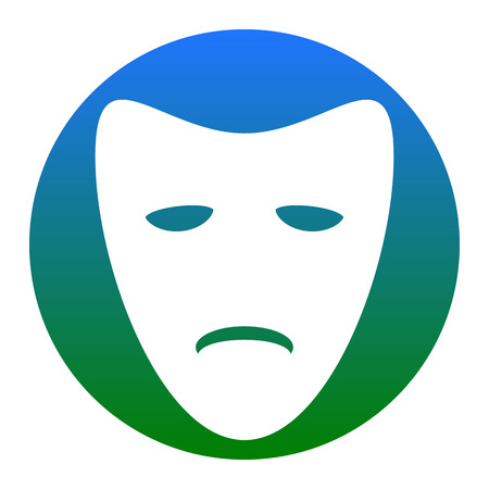 Tragedy theatrical masks. Vector. White icon in bluish circle on white background. Isolated.
