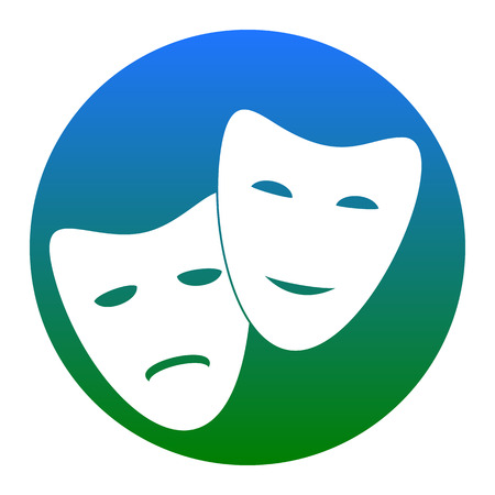 theatrical performance: Theater icon with happy and sad masks. White icon in bluish circle on white background. Isolated.
