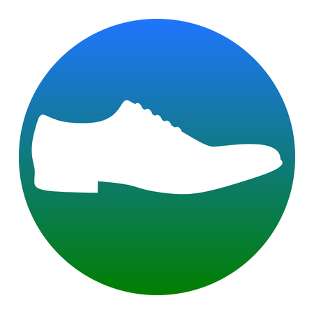 Men Shoes sign. Vector. White icon in bluish circle on white background. Isolated. Vectores