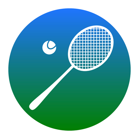 Tennis racquet sign. Vector. White icon in bluish circle on white background. Isolated. Illustration