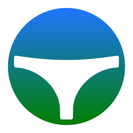 Womens panties sign. Vector. White icon in bluish circle on white background. Isolated.