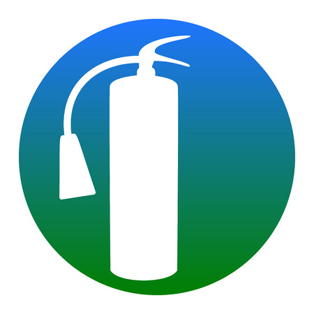 Fire extinguisher sign. Vector. White icon in bluish circle on white background. Isolated.