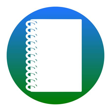 Notebook simple sign. Vector. White icon in bluish circle on white background. Isolated.