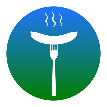 roast lamb: Sausage on fork sign. Vector. White icon in bluish circle on white background. Isolated. Illustration