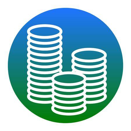 Money sign illustration. Vector. White icon in bluish circle on white background. Isolated. Illustration