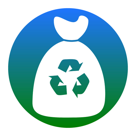 Trash bag icon. Vector. White icon in bluish circle on white background. Isolated. Illustration
