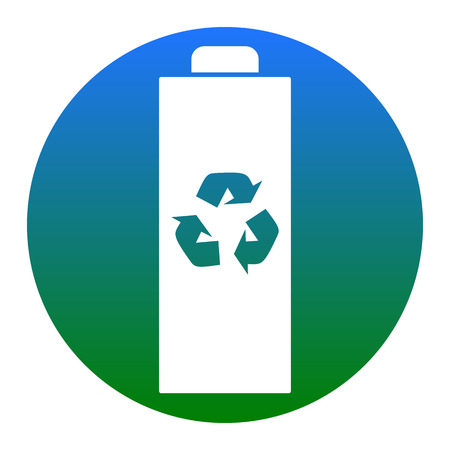 Battery recycle sign illustration. Vector. White icon in bluish circle on white background. Isolated.