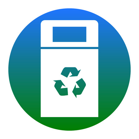 Trashcan sign illustration. Vector. White icon in bluish circle on white background. Isolated.