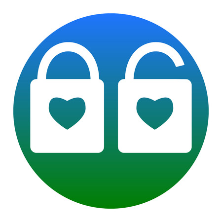 door lock love: lock sign with heart shape. A simple silhouette of the lock. Shape of a heart. Vector. Isolated.