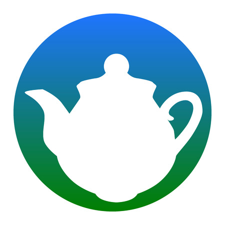Tea maker sign. Vector. White icon in bluish circle on white background. Isolated. Illustration