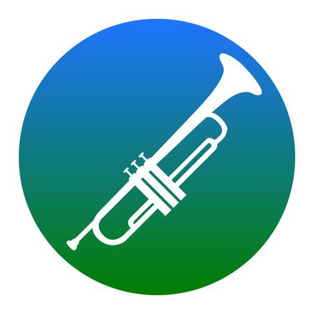 Musikinstrument Trompetenzeichen. Vektor. Weiße Ikone im bläulichen Kreis auf weißem Hintergrund. Isoliert.