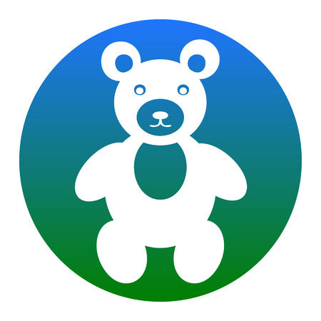 Teddy bear sign illustration. Vector. White icon in bluish circle on white background. Isolated.