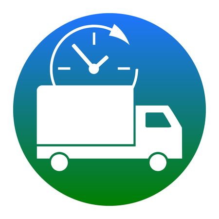 semitruck: Delivery sign illustration. Vector. White icon in bluish circle on white background. Isolated. Illustration