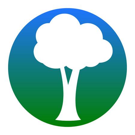 Ilustración de signo de árbol. Vector. Icono blanco en círculo azulado sobre fondo blanco. Aislado.