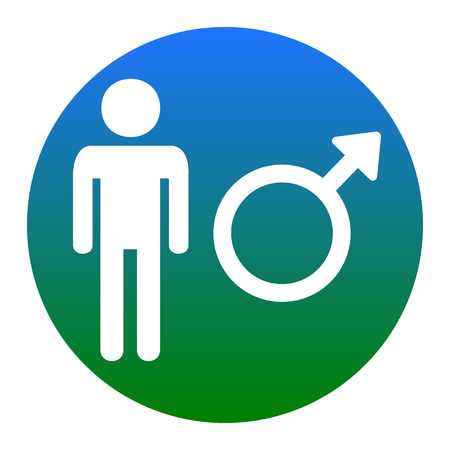 andropause: Male sign illustration. Vector. White icon in bluish circle on white background. Isolated.