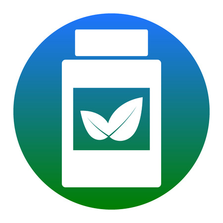 Supplements container sign. Vector. White icon in bluish circle on white background. Isolated.