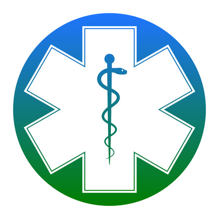 esculapio: Medical symbol of the Emergency or Star of Life. Vector. Isolated.