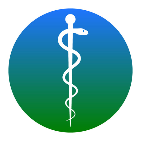 Symbol of the Medicine. Vector. White icon in bluish circle on white background. Isolated.
