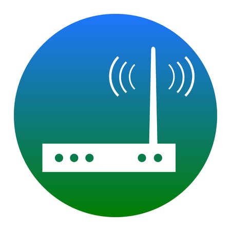 Wifi modem sign. Vector. White icon in bluish circle on white background. Isolated. Иллюстрация