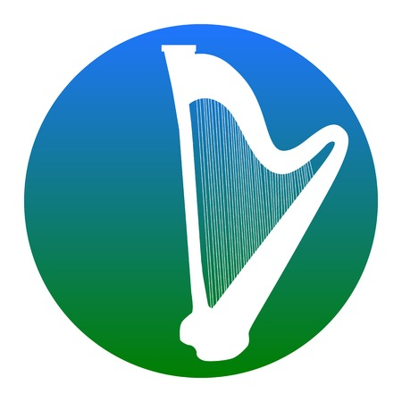 Musical instrument harp sign. Vector. White icon in bluish circle on white background. Isolated.
