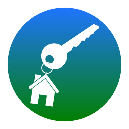 key with keychain as an house sign. Vector. White icon in bluish circle on white background. Isolated. Illustration
