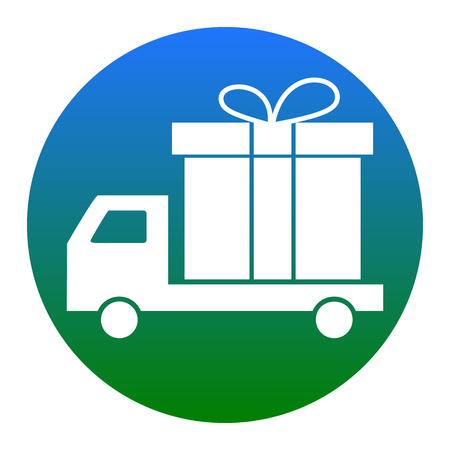 Delivery gift sign. Vector. White icon in bluish circle on white background. Isolated.