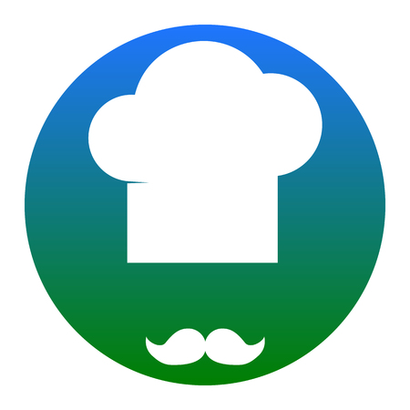 french culture: Chef hat and moustache sign. Vector. White icon in bluish circle on white background. Isolated.