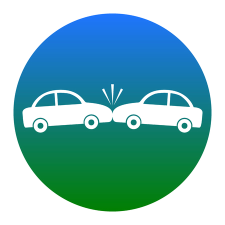 smash: Crashed Cars sign. Vector. White icon in bluish circle on white background. Isolated.
