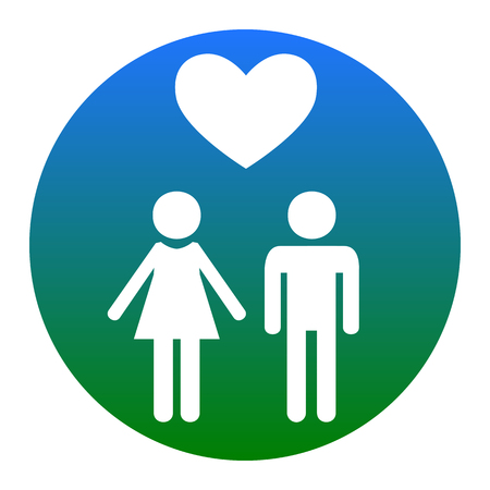 Family symbol with heart. Husband and wife are kept each other`s hands. Love. Vector. White icon in bluish circle on white background. Isolated.