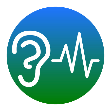 audible: Ear hearing sound sign. Vector. White icon in bluish circle on white background. Isolated.