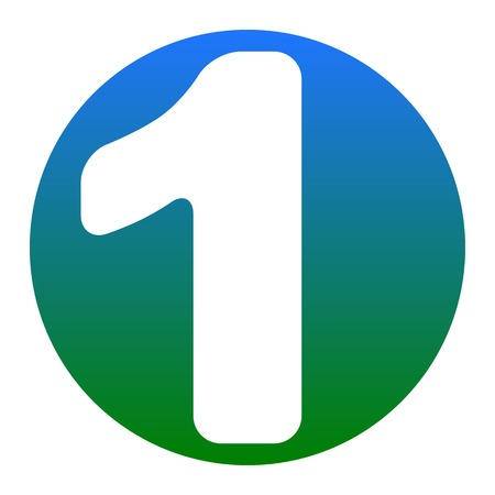 Number 1 sign design template element. Vector. White icon in bluish circle on white background. Isolated.