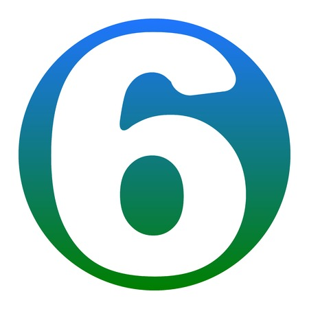 Number 6 sign design template element. Vector. White icon in bluish circle on white background. Isolated.