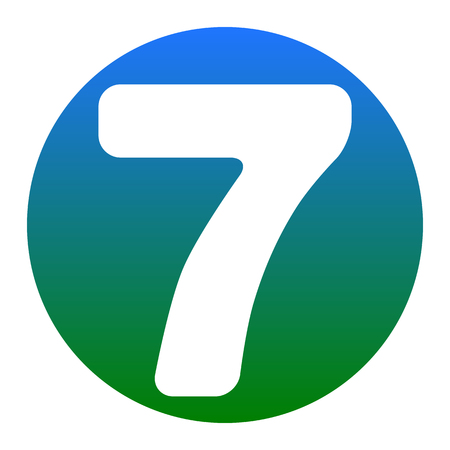 Number 7 sign design template element. Vector. White icon in bluish circle on white background. Isolated.