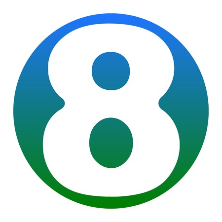 Number 8 sign design template element. Vector. White icon in bluish circle on white background. Isolated. Illustration