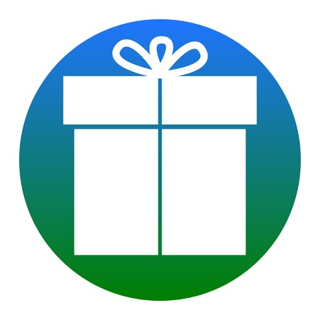 Gift sign. Vector. White icon in bluish circle on white background. Isolated. Vectores