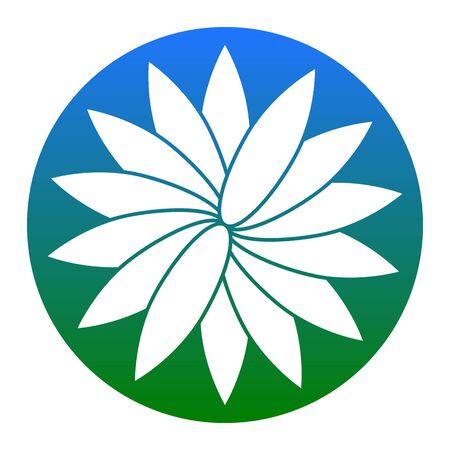 Signo de la flor Vector. Icono blanco en círculo azulado en el fondo blanco. Aislado.