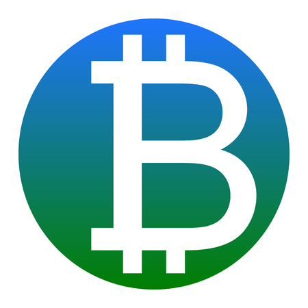 metal net: Bitcoin sign. Vector. White icon in bluish circle on white background. Isolated. Illustration