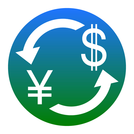 Currency exchange sign. Japan Yen and US Dollar. Vector. White icon in bluish circle on white background. Isolated.