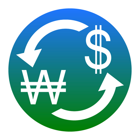 Currency exchange sign. South Korea Won and US Dollar. Vector. White icon in bluish circle on white background. Isolated. Illustration