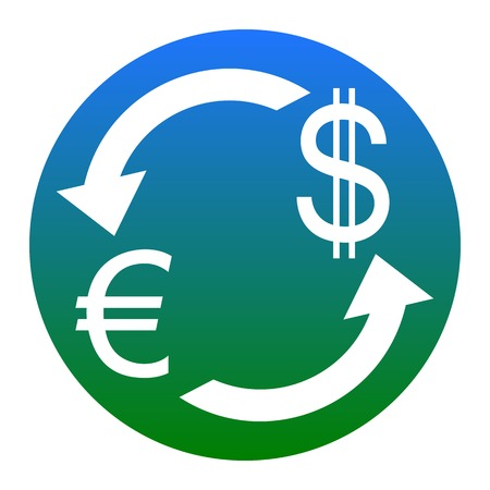 Currency exchange sign. Euro and US Dollar. Vector. White icon in bluish circle on white background. Isolated.
