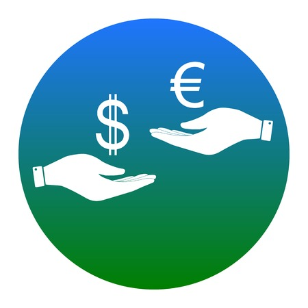 Currency exchange from hand to hand. Dollar adn Euro. Vector. White icon in bluish circle on white background. Isolated.